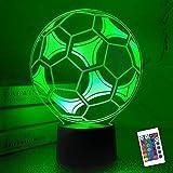 Fútbol de luz nocturna para niños Lámpara de ilusión óptica 3D con control remoto 16 colores Cambiar fútbol Cumpleaños Navidad San Valentín Idea de regalo para fanáticos del deporte Niños Niñas
