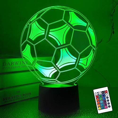 Coopark Kinder Nachtlicht Fußball 3D Optische illusion lampe mit Fernbedienung 16 Farben Ändern Fußball Geburtstag Weihnachten Valentinstag Geschenkidee für Sport Fan Jungen Mädchen