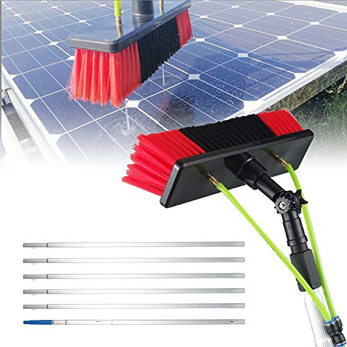 Water Fed Pole Kit Window Cleaning Brush Outdoor Window Glass Solar Panel Cleaning Extendable Telescopic Pole Water Fed Brush Spray Washer (US Stock)