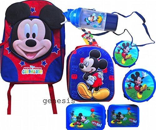 Mickey Mouse Clubhouse enfants sac ¨¤ dos et bo?te ¨¤ lunch avec 5 Pc Lunch Kit