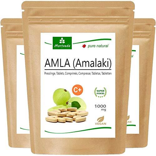 MoriVeda® - Amla tabletas 1000mg (180 o 60 tabletas) vitamina bomba - producto 100% natural con vitamina C, cromo, minerales, proteínas y vitaminas B. Sistema Inmune, Antioxidante (3x60 compactos)