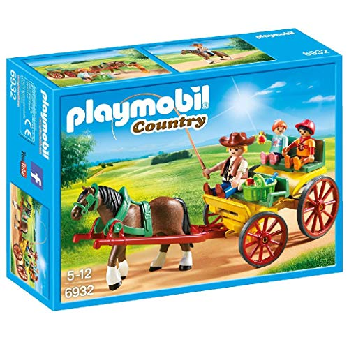 PLAYMOBIL- Country-Carruaje con Caballo Conjunto de Figuras, Multicolor (6932)