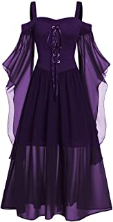 Goutique Womne Halloween Dress Plus Size Cold Shoulder Gothic Retro Butterfly Sleeve Lace Up Mesh Camisole