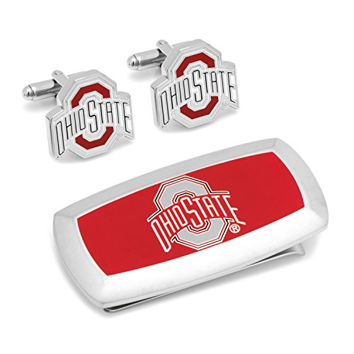 Gemelos para Hombre de Joyas de Metal Inc Ohio State University cojín de Gemelos y Money Clip Set de Regalo Plata Modelo # PD-OSU-cm2