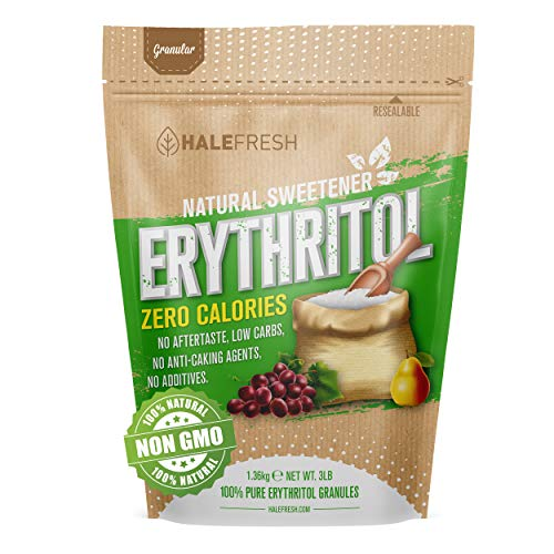 Erythritol Sweetener Non-GMO Natural Sugar Substitute 3lb - Granulated Low Calorie Sweetener High Digestive Tolerance Suitable for Diabetes Keto and Paleo - Baking Substitute