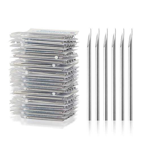 ATOMUS Body Piercing Needles 14G 16G Stainless Steel Sterile Disposable Ear Nose Navel Nipple Lip Piercing Needles(10pcs 14G)