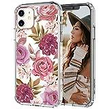 MOSNOVO Coque iPhone 11, Fleur Floral Motif Transparente Arrière avec TPU Bumper Gel Coque de...