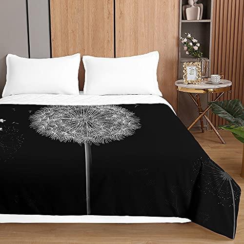 Chickwin Tagesdecken Bettüberwurf, 3D Löwenzahn Drucken Sommer Tagesdecke mit Prägemuster Wohndecke aus Mikrofaser Bettdecke für Einzelbett Doppelbett oder Kinder (Schwarzer Löwenzahn,180x220cm)