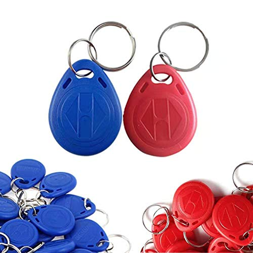 Anyasen 50 piezas EM4100 125Khz Llavero rfid de proximidad Rfid ID Card Token Etiquetas Keyfobs clave Llaveros genéricos con identificación rojo y azul (Solo lectura)