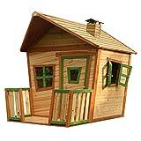 AXI Spielhaus Jesse aus FSC Holz | Outdoor Kinderspielhaus mit Veranda für den Garten in Braun & Grün | Gartenhaus für Kinder mit Fenstern