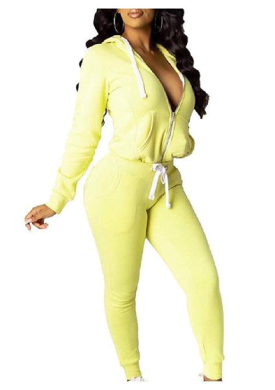 矩形プライム優遇Candiyer Women Zipper Hooded Pure Casual 2 Pieces Tracksuits Outfit