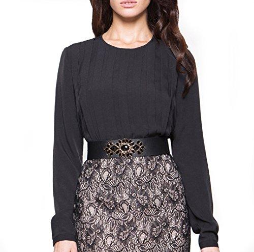 Bestia damesblouse, model Scout, blouse met lange mouwen, bovendeel, zwart