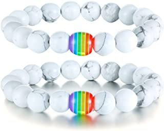 Black Agate and White Howlite Rainbow Gay Pride Relationship Beaded Bracelets Equality Jewelry,Couples Gay Wedding Gift