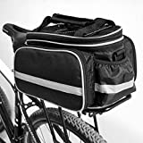 Hanris 10-25L Cycling Bicycle Case Bike Tail Seat Trunk Bag Practical Extended Spcae Bags With Rain Cover and Shoulder Strap (Black)