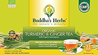 Buddha's Herbs Organic Turmeric, Ginger and Lemongrass Tea, 22 Tea Bags (Pack of 2)