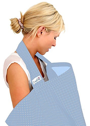 BebeChic * 100% Cotton * Breastfeeding Cover *105cm x 69cm* Boned Nursing Apron - with drawstring Storage Bag - powder blue / white dot