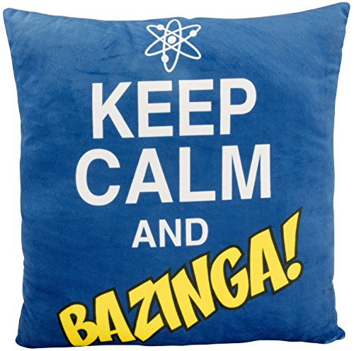 Big Bang Theory The 0122078 Coussin en Polyester de 40 x 40 x 3 cm avec Inscription « Keep Calm and Bazinga » Noir