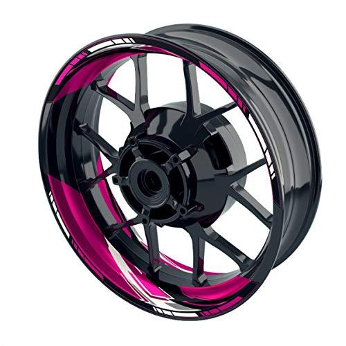 """OneWheel Felgenaufkleber für Motorrad Racing Design 3b passend für 17\"""" Felgen/Vorder- und Hinterrad beidseitig   Zweiteiliger Aufkleber   Premium Felgenrandaufkleber komplettes Set (pink)"""
