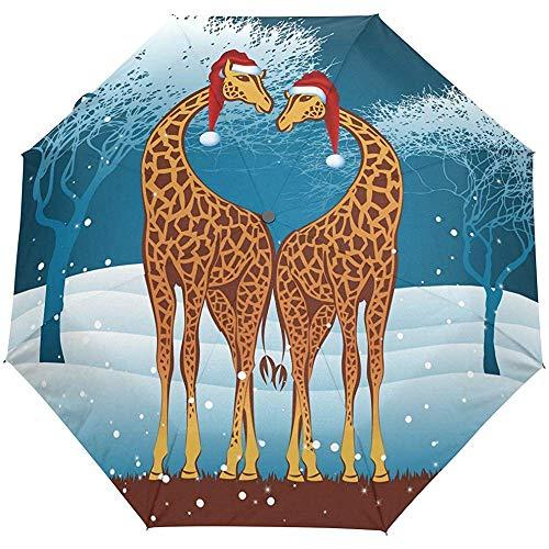 Cute Christmas New Year Winter Giraffe Auto Öffnen Schließen Regenschirme Anti UV Folding Compact Automatic Umbrella