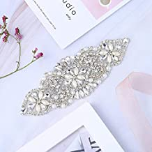 XINFANGXIU Small Rhinestone Bridal Applique Patch with Beaded Crystal Jeweled Sequin Diamond Decoration Sew Iron on Garter Applique Wedding Dress Sash Belt Clothes Embellishments