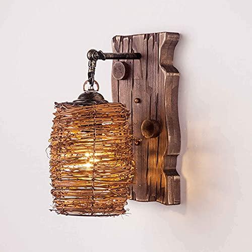 Aplique de pared, E27 Lámpara de pared de madera antigua Creatividad Mimbre...