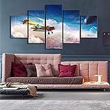 WARMBERL Peintures sur Toile Demain Est Inspirant Dessin Animé Avion Paysage Affiche Art sans Cadre Peinture Salon Décoration Murale Peinture Impressions sur Toile