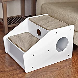 Petsfit 2-Steps Dog Stairs,White(21x17x14 inch)