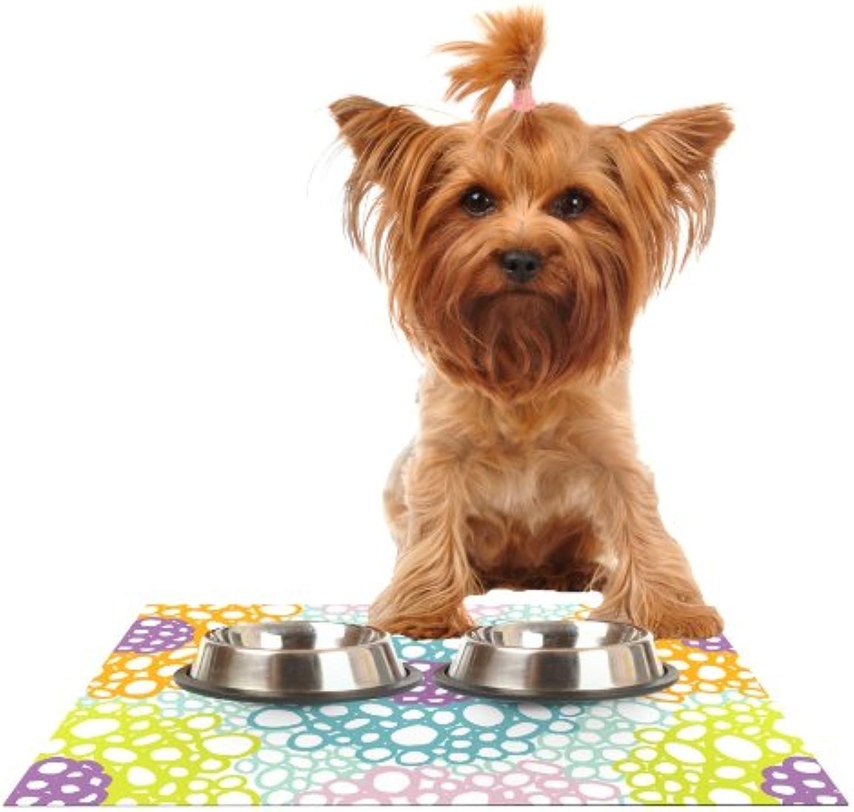 Kess InHouse Emine Ortega Bubbly Feeding Mat for Pet Bowl, 18 by 13Inch