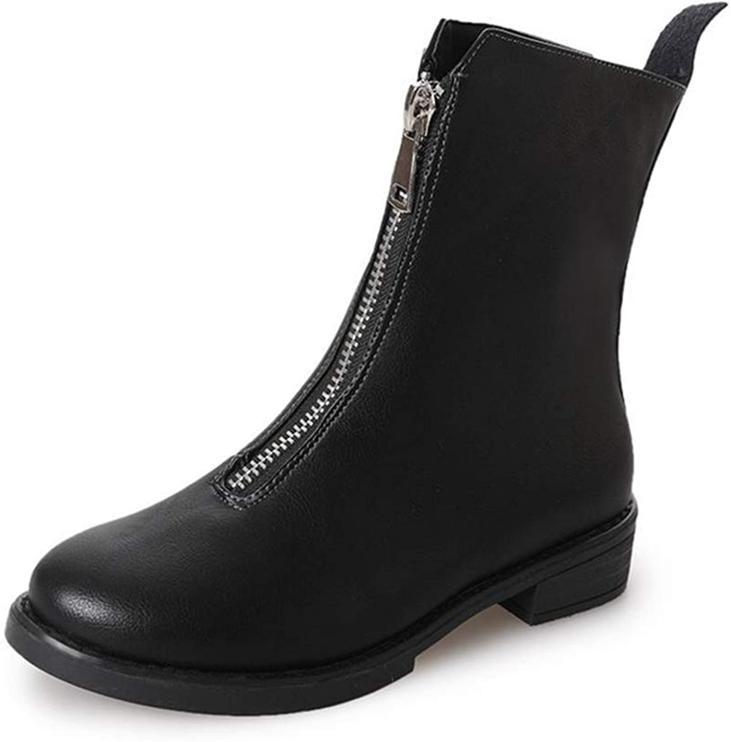 York Zhu Women Fashion Causual Boots,Front Zipper Non-Slip Twisted Rider Ankle Boots