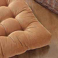 ソフトコーデュロイチェアクッション、快適なppコットンパッド入りチェア枕、房状の正方形の大きな床枕、布団クッション 55x55x11cm 茶色