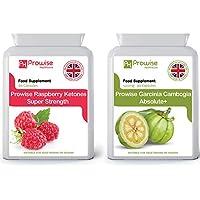 Garcinia Cambogia 500mg 60 cápsulas + Frambuesa 600mg 60 Cápsulas - Reino Unido Fabricado con GMP Calidad garantizada - Adecuado para vegetarianos y veganos Por Prowise Healthcare