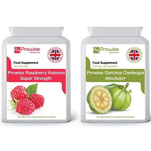 Garcinia Cambogia 500mg 60 Kapseln + Himbeere 600mg 60 Kapseln - UK Hergestellt nach GMP Garantierte Qualität - Geeignet für Vegetarier und Veganer von Prowise Healthcare