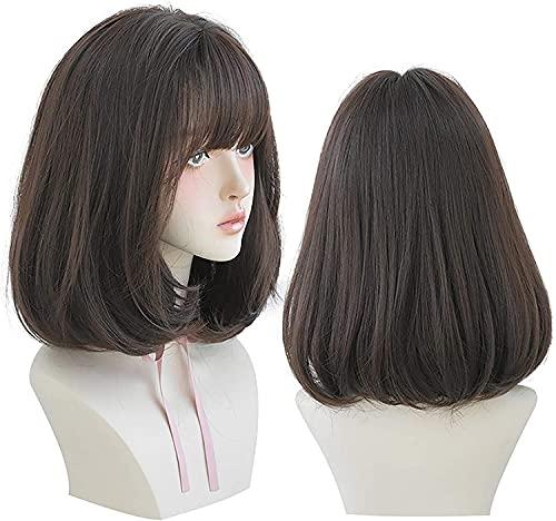 Pelucas rectas de pelucas para mujeres cortas naturales con pelucas de piezas intermedias Peluca sintética de longitud de hombros para vestido de fiesta Cosplay Lamera de mujer Negro
