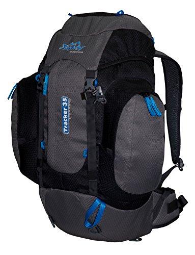 Tashev Sac à dos Tracker 35 PS 700g Sac de trekking petite randonnée (Noir & Gris & Bleu)