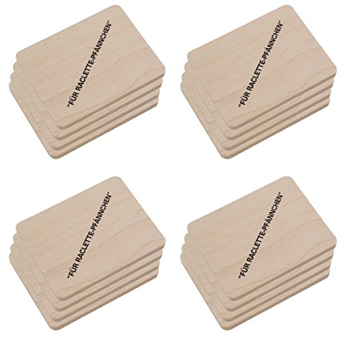 HOFMEISTER® Raclette Zubehör aus Holz, Schaber und Untersetzer für Raclette-Pfännchen, hochwertiges Naturprodukt aus EU Familienbetrieb (16x Brett