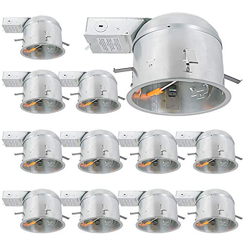 12 Pack 6 Inch Remodel Housing, Shallow Type Airtight IC Can Housing with TP24 Connector for LED Recessed Lighting, ETL Listed