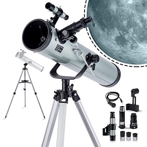 Telescope Astronómico - Reflectores profesionales para niños y adultos, color plateado