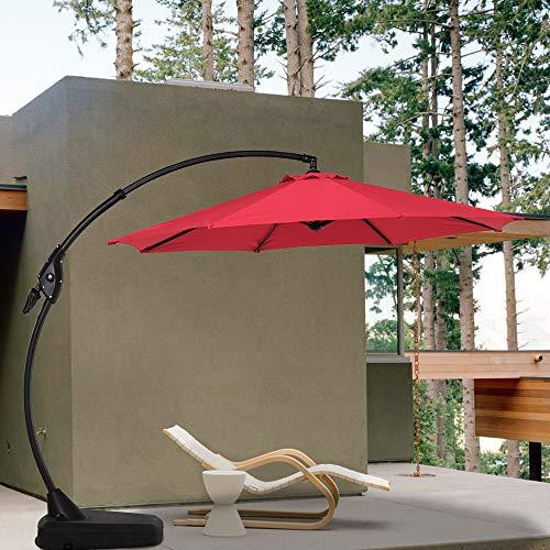 Grand patio sombrilla de Patio de 11 pies/12 pies para Colgar al Aire Libre, Redondo, voladizo para jardín, Cubierta, Patio Trasero y Piscina, con Base
