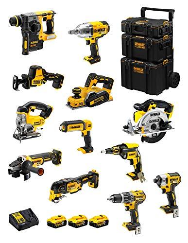 DeWALT Kit DWK1202 (DCD796 + DCH273 + DCG405 + DCF887 + DCF889H + DCS331 + DCS391 + DCS355 + DCP580 + DCS369 + DCL050 + DCF620 + 3 Baterías de 5,0 Ah + Cargador + Carro 3en1)
