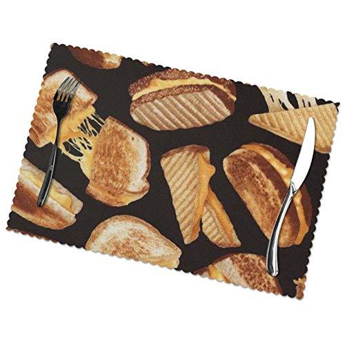 Juego de 6 manteles individuales para mesa de comedor, sándwiches de queso impresos, aislantes, manteles individuales lavables
