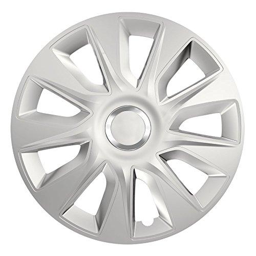 CM DESIGN 14 Zoll Radzierblenden Stratos RC Silver (Silber mit Chromring). Radkappen passend für Fast alle VW Volkswagen wie z.B. Polo 9N!
