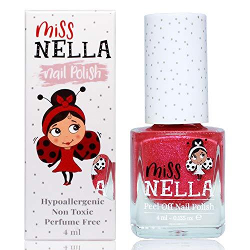 Miss Nella TICKLE ME PINK abziehbarer Nagellack speziell für Kinder, rosa Glitzer, Peel-Off-Formel, ungiftig, wasserbasiert und geruchsneutral