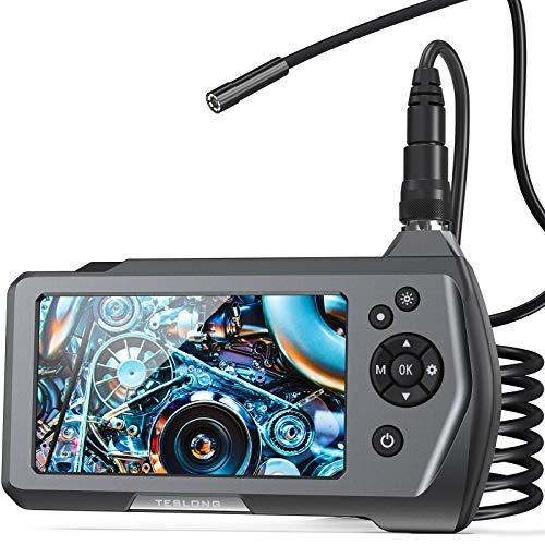 Teslong Industrielles Endoskopkamera, 2MP Endoskop mit 4,5 Zoll IPS Bildschirm, 8 Einstellbaren LED-Licht, Wasserdichte industrielles Inspektionskamera,5 Meter Kabel Halbstarrer Rohrkamera