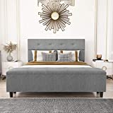 Amolife Queen Platform Bed Frame with 120L Storage Ottoman and Upholstered Button Tufted Headboard, 14 Solid Wood Slat Support, Extra Long, Easy Assembly, Light Grey, Queen