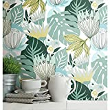 RoomMates RMK11914WP Teal and Yellow Retro Tropical Leaves Peel and Stick Wallpaper