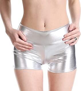 Da Donna con PVC Lucido Metallico Bagnato Hot Pants Girls Palestra Danza Discoteca Corto
