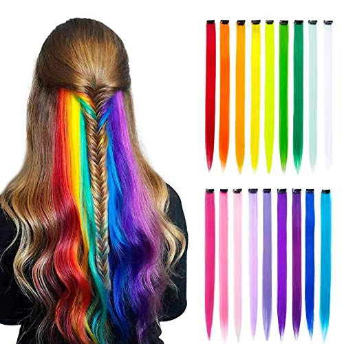 K&G HAIR 18 Pcs/Lot Colored Clip in Hair Pieces Heat-Resistent Color Party Highlights Straight Clip in on Hair Extensions Synthetic Multi-Colors Hair for Girls Kids