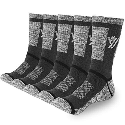 YUEVO SPORTS 5 Paar Sportsocken für Herren Baumwollsocken Arbeitssocken Wandersocken Trekkingsocken Atmungsaktiv Hochleistung 43-46 Grau