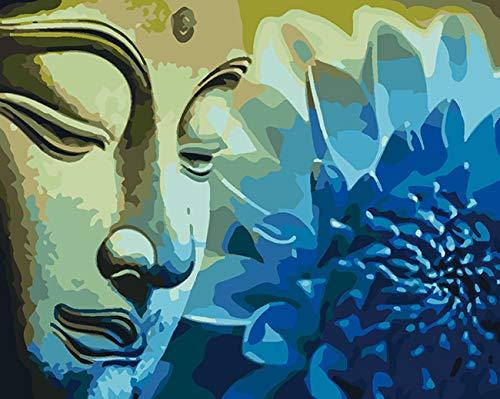 Malen nach Zahlen für Erwachsene, Buddha-Ölgemälde nach Zahlen, Set für Erwachsene oder Kinder, Anfänger, mit Pinsel, 40,6 x 50,8 cm Leinwandgemälde für Heimdekoration (Artboard-Upgrade)
