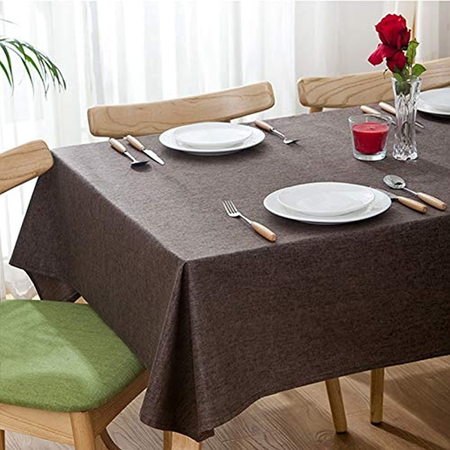 Good-Looking Size  130  250cm,Modern Concise Waterproof Flax Rectangle Home Hotel Table Clot Beautiful (color   Coffee)